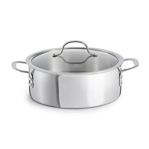 Aluminum core between 2 stainless steel layers provides even heating for excellent browning and control of the cooking process. Non-porous stainless steel cooking surface is safe for use with all utensils. Elegant brushed stainless steel exterior can...