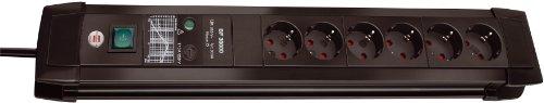 Brennenstuhl Premium-Line, Steckdosenleiste 6-fach mit Überspannungsschutz bis zu 30.000 A (3m Kabel und mit Schalter, Made in Germany) schwarz