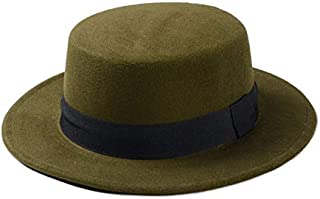 PengCheng Pang Wool Pork Pie Boater Flat Top Hat for Women's Men's Felt Wide Brim Fedora Gambler Hat (Color : Green, Size : 57-58cm)