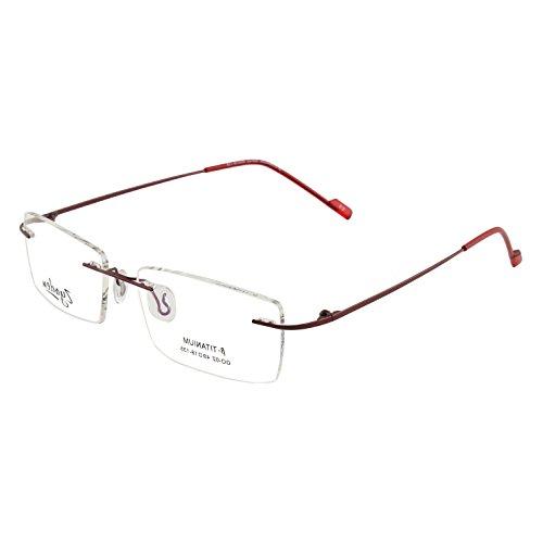 Zyaden Rimless-7 Maroon Rectangular Eyeglass