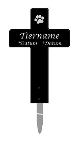 mit Gravur, Grabkreuz für Tiere, aus 8mm Acrylglas, schwarz, inkl. Erdspieß, Hier Personalisieren