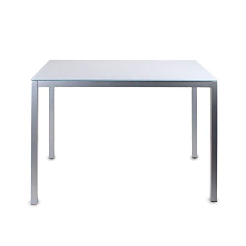 Jooli H Glass Dining Table, Modern Kitchen Table with Metal Legs, 120 x 70 x 75 cm, Grey