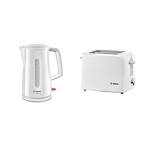 Bosch TWK3A011 CompactClass kabelloser Wasserkocher, 1,7 L, 2400 W, weiß & TAT3A011 CompactClass Kompakt-Toaster, Auftaufunktion, versenkbarer Brötchenaufsatz, Abschaltautomatik, 980 W, weiß