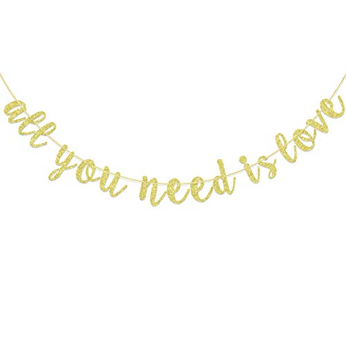 All You Need is Love Banner for Valentine's Day Decorations, Engagement, Bridal Shower, Wedding Supplies Bunting, Expressing Love Bunting (Gold Glitter)
