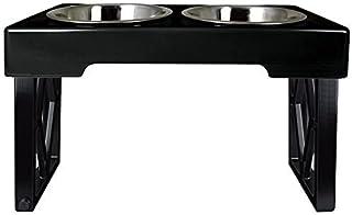 "Pet Zone Designer Diner Adjustable Elevated Dog Bowls - Adjusts to 3 Heights, 2.75"", 8"", & 12'' (Raised Dog Dish with Doub..."