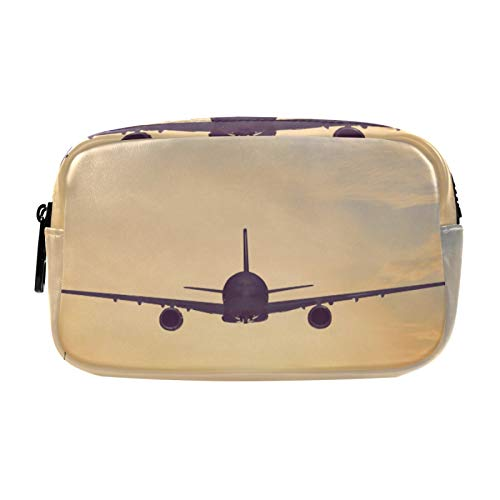 Gifts for Women, Makeup Bag, Cosmetic Bag, Toiletry Pouch Travel Accessories, Airplane Flying Over Ocean at Sunset