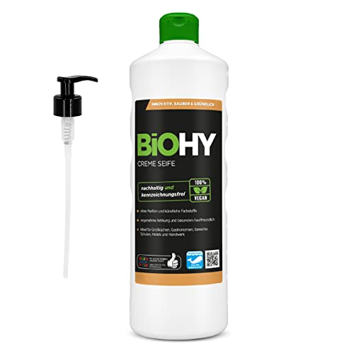 BiOHY Creme Seife (1l Flasche) + Pumpspender | Hautschonende, rückfettende und geruchsneutrale Handseife Nachfüller aus dem pflanzlichen Bereich PHOSPHATFREI | Ohne Parfüm und Farbstoffe