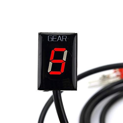 MUJUN Reserva Motocicleta ECU Montaje Directo 1-6 Speed Gear Display indicador For Kawasaki ER6N Z1000SX Ninja300 Z1000 Z800 Z750 Z400 Versys 650 (Color : Red)