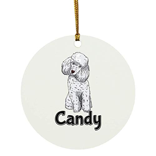 Weezag Candy Poodle Dog Christmas Ornaments Tree Decor Decorations, Custom Personalized with Your Name Xmas Ornament Dog Lover Gifts for Pet Owner, 9322