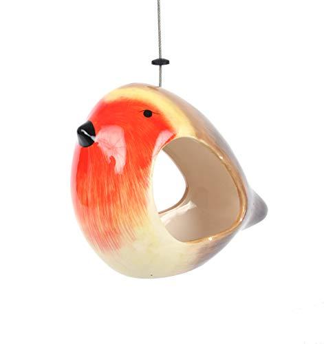 Wildlife World Futterstation für Rotkehlchen, Keramik, Rot / Gelb