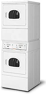 Speed Queen LSEE5AGS153TW01 27'' Inch Commercial Electric Vented Stacked Dryer on Dryer Laundry Center with 14 cu. ft. Capacity, Reversible Side Swing Doors, ADA Compliant