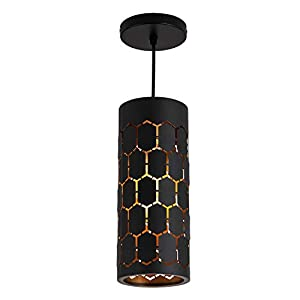 Industrial Mini Metal Pendant Light Retro Geometric Ceiling Pendant Light Fixture for Kitchen Island Dining Room Farmhouse Vintage Adjustable Hanging Light with Black Finish and Gold Painted