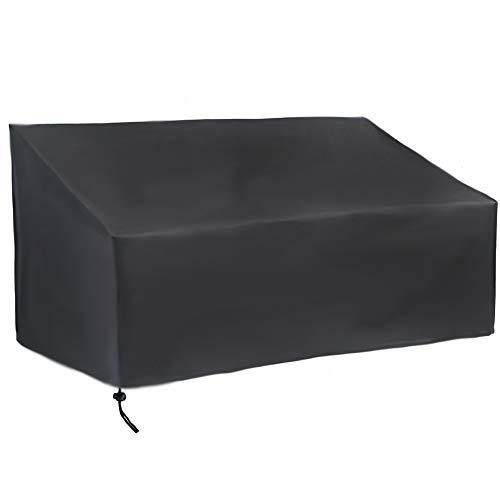 YMYP08 420D Black Apartment Bench Mit Wasserdichtem Bezug, Verstellbarer Patio-Möbelbezug, Schwarz (Size : 134x66x89cm/52.7x25.9x35in)