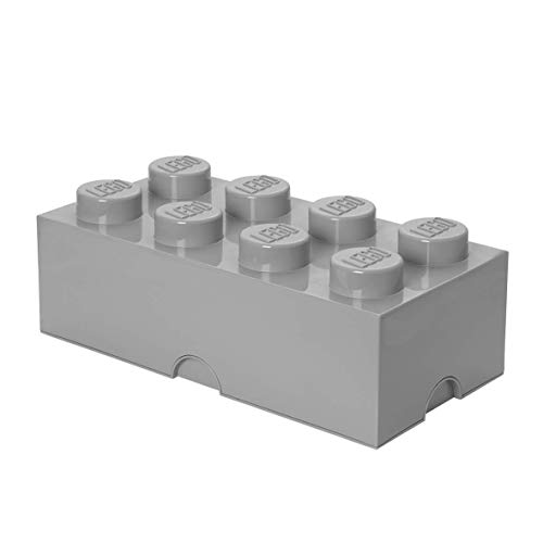 LEGO Aufbewahrungsstein, 8 Noppen, Stapelbare Aufbewahrungsbox, 12 l, grau