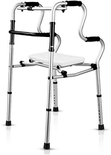 IWQTO Folding Walker, tragbarer Hilfs Gehhilfe, WC stützte Armlehne, Ladder stützte Quadruped, Aluminiumlegierung l (Color : Black, Size : B)