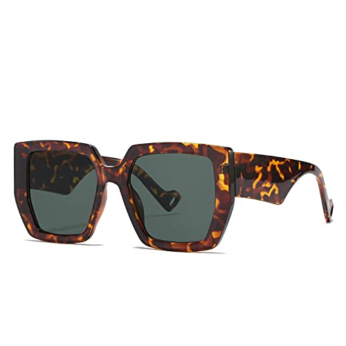 Gafas De Sol Cuadradas Vintage De Moda para Mujer Y Hombre, Montura Grande, Gafas De Sol para Conducción De Viaje, Uv400 Shades-Leopard_Dark_Green