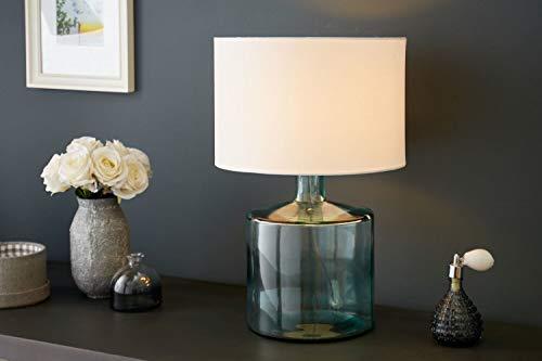 Stilvolle Tischleuchte rund 50cm hoch Blau Weiß aus Glas Stoff AQUAMENTI Nachttischlampe Ambientebeleuchtung