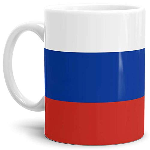 Tassendruck Flaggen-Tasse/Souvenir/Urlaub/Länder-Fahne/Kaffetasse/Mug/Cup - (Russland, Normal)