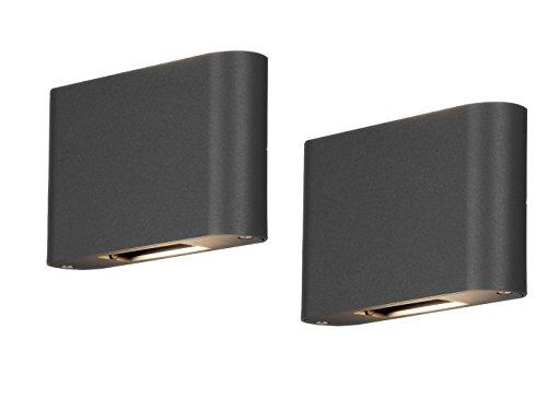 2er Set - Flache LED Außenwandleuchten Up and Down Aluminium anthrazit, IP54, 18cm breit, 11,5cm hoch - Hausbeleuchtung Außen