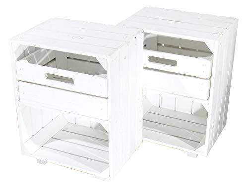 Kontorei® Weißer Nachttisch mit Schublade 30,5cm x 40cm x 54cm 2er Set Nachtschrank Tisch Regalkiste Apfelkiste Weinkisten Obstkisten Weiss Tisch Ablage Landhaus DIY klassisch
