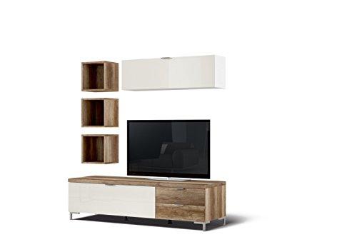 CS Schmal TV-Board Cleo Typ 20 + Hängeregal + 3 Würfel | In Wildeiche und Sandglas | 163 x 175 x 50 cm |  45.150.570/046