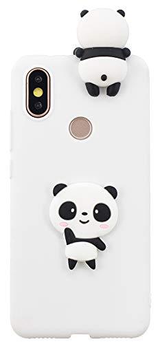 Shunda Capa Xiaomi Mi A2, capa com estampa de desenho animado 3D fina e macia de silicone de TPU com para-choque, capa traseira protetora para celular para Xiaomi Mi A2 - Panda branco