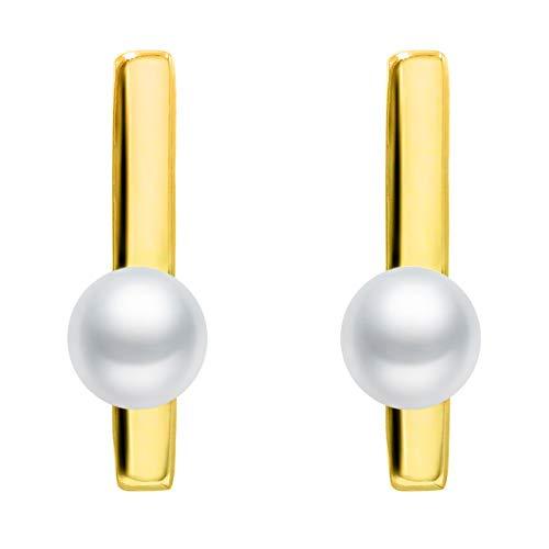 Pendientes de Mujer de Perlas Cultivadas de Agua Dulce Redondeadas de 4 a 4,5 mm SECRET & YOU - Pendientes de Plata de Ley de 925 milésimas Bañada en Rodio o en Oro de 18 quilates.