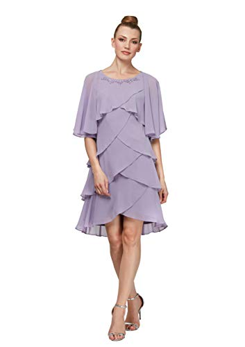 S.L. Fashions Women's Chiffon Tier Jacket Dress with Bead Neck, Lavender Quartz, 8 Petite (Apparel)