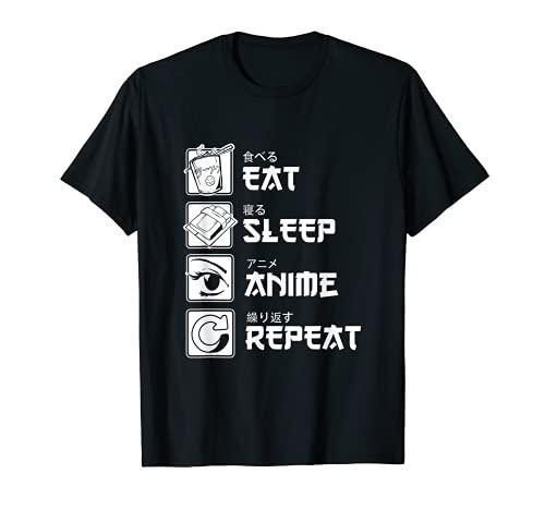 Otaku Anime Lover Japanese Eat Sleep Anime Repeat Japan T-Shirt