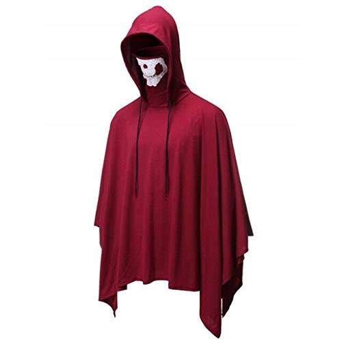 INLLADDY Umhang Herren Hoodie mit Skelettmaske Tops Halloween Cosplay Kostüm Cape Rot L