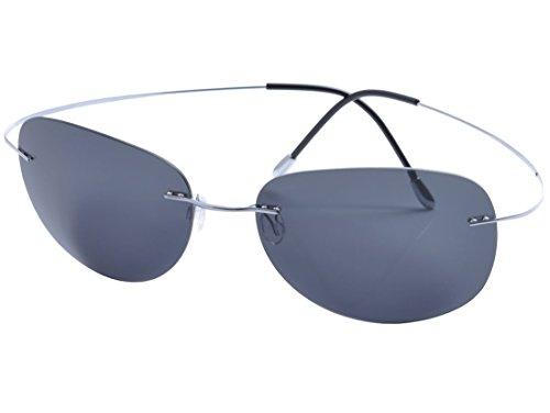 De Ding - Gafas de Sol polarizadas de Titanio sin Borde, Plateado, Talla Unica