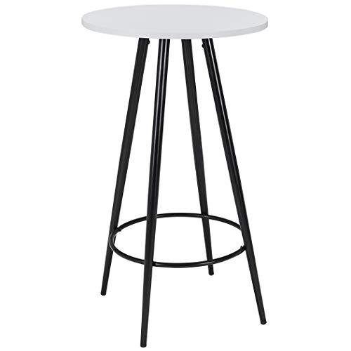 Duhome Bartisch aus Holz (MDF) Metall Stehtisch Weiß Robust Bistrotisch Höhe 102cm Farbauswahl 222