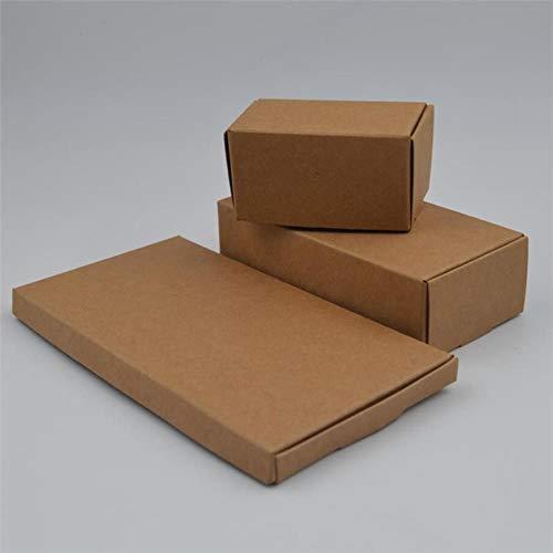 CTOBB Lot de 100 boîtes Cadeau en Papier Kraft Marron 14 Tailles, Marron, 9.3x5.4x2.5CM