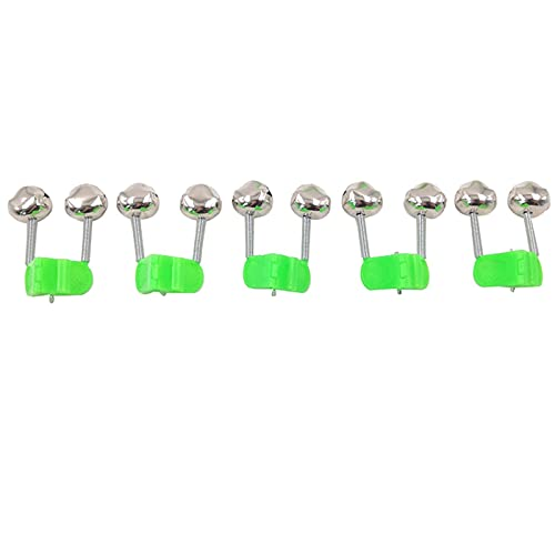 5pcs Fishing Bite Alarms Fishing Rod Bell Rod Clamp Tip Clip Bells Ring Green ABS Fishing Accessory Outdoor Metal (Color : 5pcs)