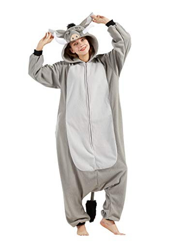 Pijama Animal Entero Unisex para Adultos con Capucha Cosplay Pyjamas Ropa de Dormir Traje de Disfraz para Festival de Carnaval Halloween Navidad Jabalí XL(178-187CM)