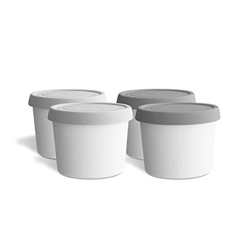 4er-Set Eisbehälter für Speiseeis 400 ml, Aufbewahrungsbehälter, Gefrierdosen, Eis-Container BPA-frei in Lebensmittelqualität