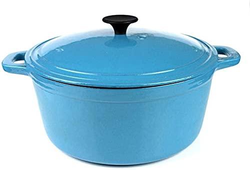 CJDM Pentola di Terracotta per Cucinare - Casseruola Tonda - Fornello per arrostire Forno Olandese Antiaderente in Ceramica in ghisa e Gas Sicuro - con Coperchio-Blu_Diametro 28CM