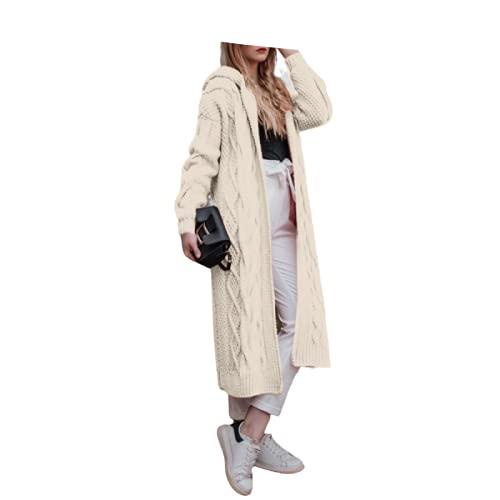 Maglione con Cappuccio da Donna Moda Casual Comodo Rilassato Trend Tinta Unita semplicità Basic Warm Giacca Lunga Lavorata a Maglia L