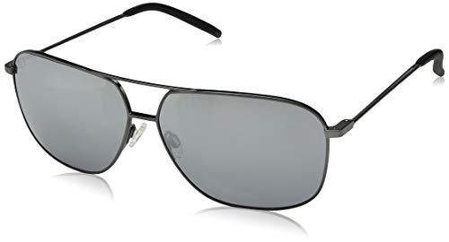 Maui Jim gafas de sol Hombre | Kami DSB778-02D | Montura plata con azul marino. Lentes polarizadas Dual Mirror azul a plateado
