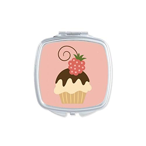 DIYthinker Chocolate Ice Sweet Strawberry Cream Miroir carré Maquillage Compact Portable Mignon Miroirs de Poche à la Main Cadeau Multicolore