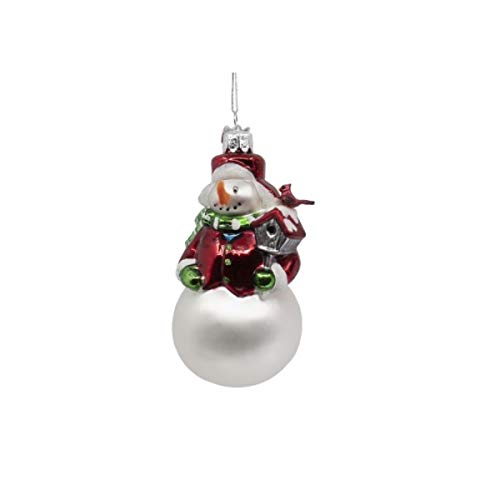 Kurt-Adler Glass Ornament with S-Hook and Gift Box, Snowman Collection (Snowman Birdhouse [House, NB1623])