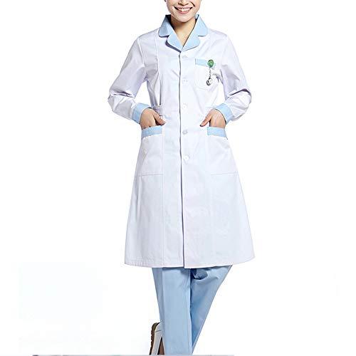 Medizinische Kleidung Krankenhaus-Arbeitskleidung Laborkittel Uniform Weiß mit langen Ärmeln Anzug Rundhals Medizinische Kleidung Mit 3 Taschen,Blau,XXL