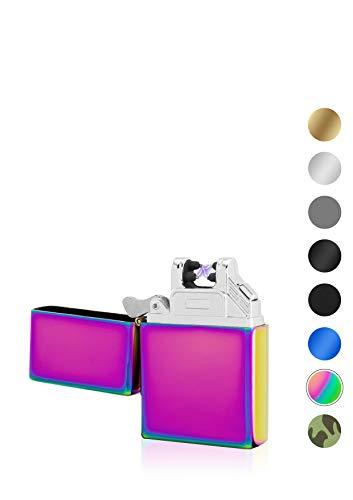 TESLA Lighter T03 Lichtbogen Feuerzeug, Plasma Single-Arc, elektronisch wiederaufladbar, aufladbar mit Strom per USB, ohne Gas und Benzin, mit Ladekabel, in Edler Geschenkverpackung, Regenbogen