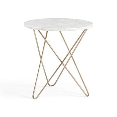YAQ-Muebles de oficina Mesa redonda de metal, mármol Textura creativa trípode de mesa Sala de estar Balcón informal Mesa de café mesa de negociación Mesas de pedestal ( Color : A , Size : 60*62CM )