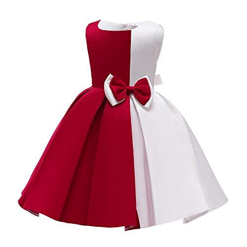 BAIDEFENG Vestido de nia sin Mangas Vestido de Princesa para nios Color de Contraste Chaleco Plisado Falda Vestido de nia de Las Flores Vestido de Princesa para Fiesta de cumpleaos-Rojo_130