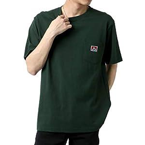 [ベンデイビス] Tシャツ ポケット 付き 無地 半袖 メンズ ダークグリーン L:(身丈71cm 肩幅48cm 身幅54cm 袖丈23.5cm)