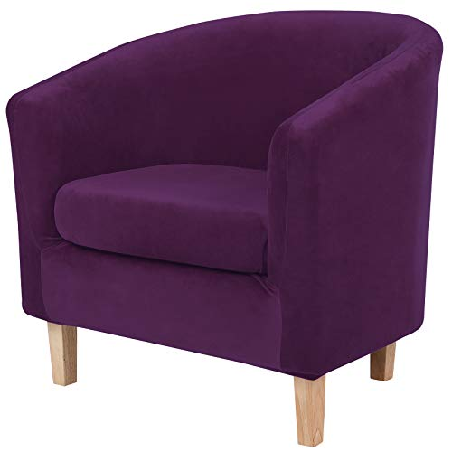 hyha 2 Pieces Velvet Tub Chair Covers with Cushion Cover, Removable Stretch Club Chair Slipcover for IKEA Tullsta, Armchair Furniture Protector for Living Room, Purple