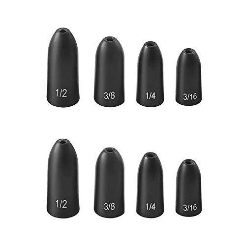 Fishfun 8Pcs Tungsten Bullet Weights for Fishing, 3/8oz, 1/2oz, 1/4oz, 3/16 oz, Black Anodized Worm Weights Sinkers Kit, Sizes Laser-Engraved, No Abrasion, Never Chip and Sensitive