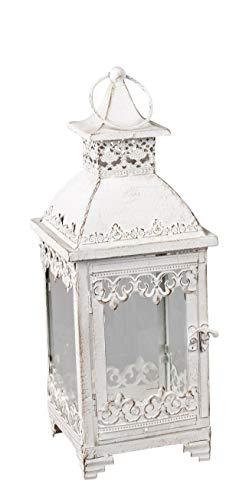dekojohnson Farol decorativo de metal, lámpara de acero, estilo vintage, oriental, portavelas italiano, portavelas blanco, 20 x 20 x 54 cm