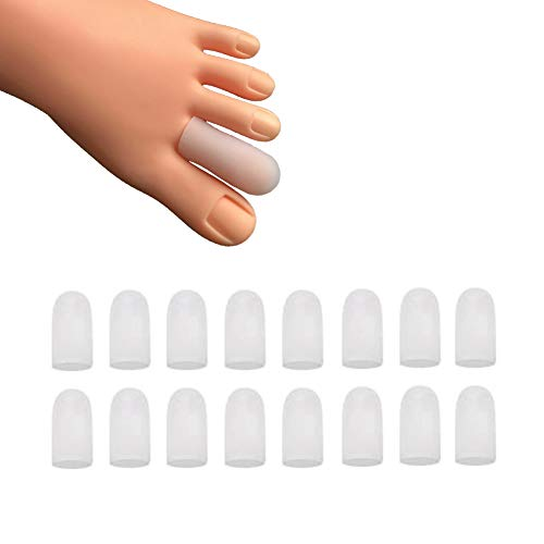 16 Pieces Gel Toe Caps, Silicone Toe Protector Toe Covers, Gel Toe Cushion to Protect Toe from Rubbing, Ingrown Toenails, Corns, Blisters, Hammer Toes and Other Painful Toe Problems (White)